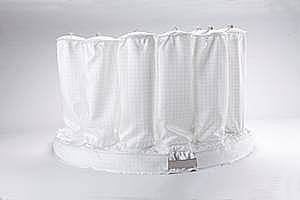 White fluid bed dryer bag on white background